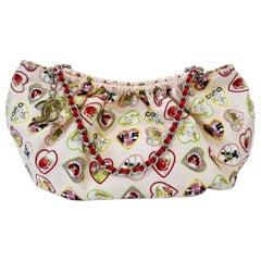 2000s Chanel Heart Charm Motif Canvas Bag