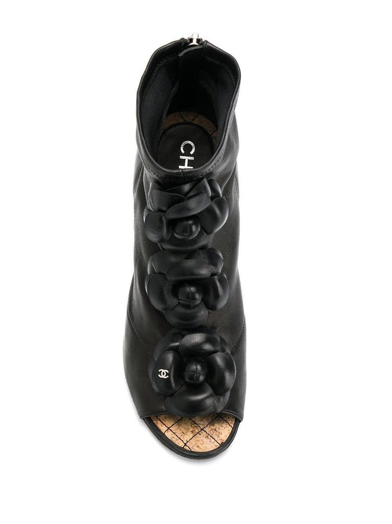 Black 2000s Chanel Platform Booties For Sale