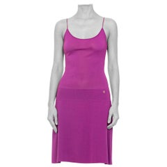 2000S Chanel Purple Rayon Blend Knit Perfect Little Slip Dress