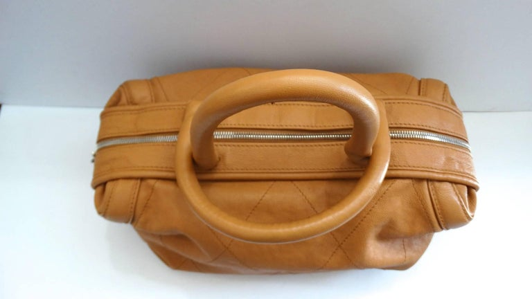 Brown 2000s Chanel Tan Quilted Leather Top Handle Bag For Sale