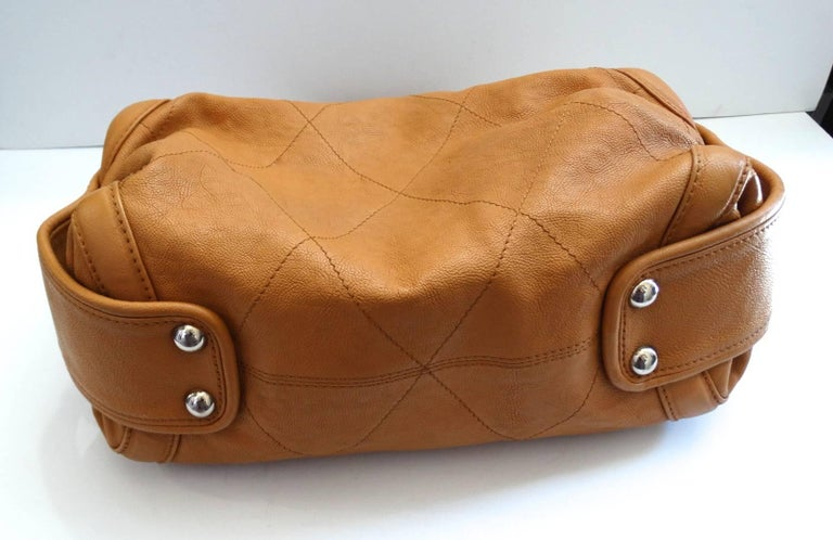 2000s Chanel Tan Quilted Leather Top Handle Bag For Sale 2