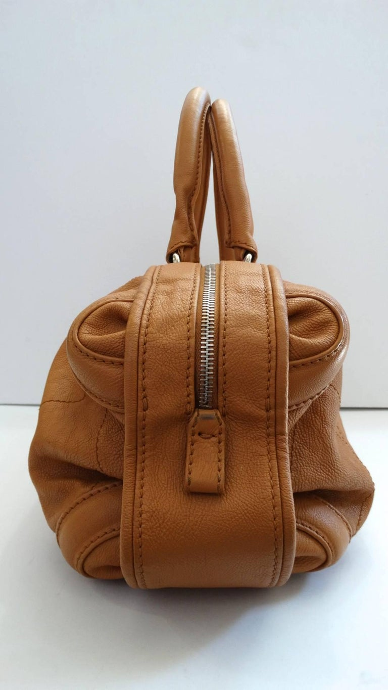 2000s Chanel Tan Quilted Leather Top Handle Bag For Sale 3