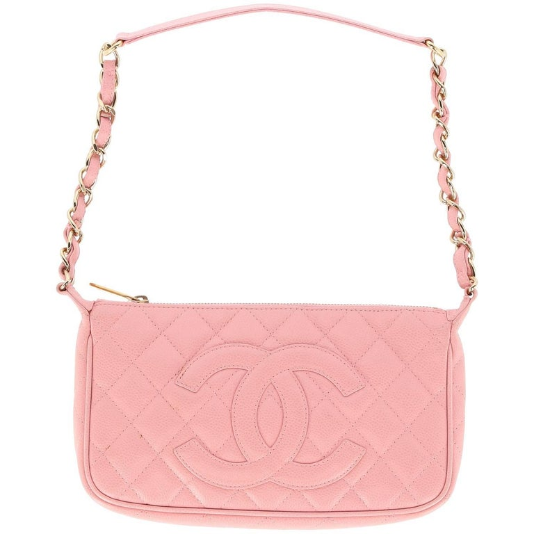 dd6fe8bfa871b 2000s Chanel Vintage Pink Leather Clutch Bag