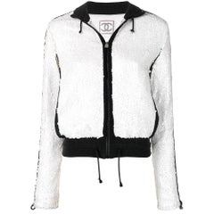 2000s Chanel White Sequins Jacket
