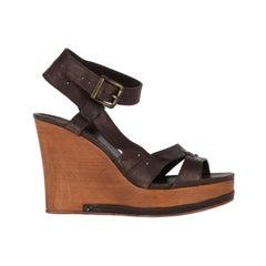 2000s Chloé Wood Wedge Sandals