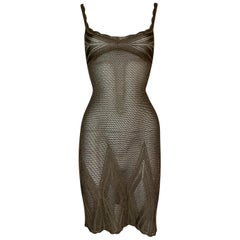 2000's Christian Dior by John Galliano Sheer Bronze Knit Mini Dress