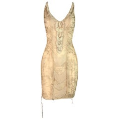 2000's Christian Dior by John Galliano Sheer Nude Lace Corset Knit Mini Dress