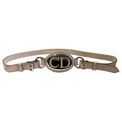 2000s Christian Dior CD Logo White Leather High Waist Belt