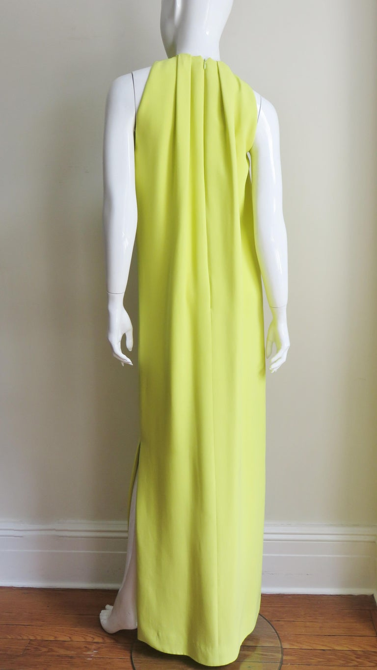 Christian Dior New Citron Silk Gown For Sale 4