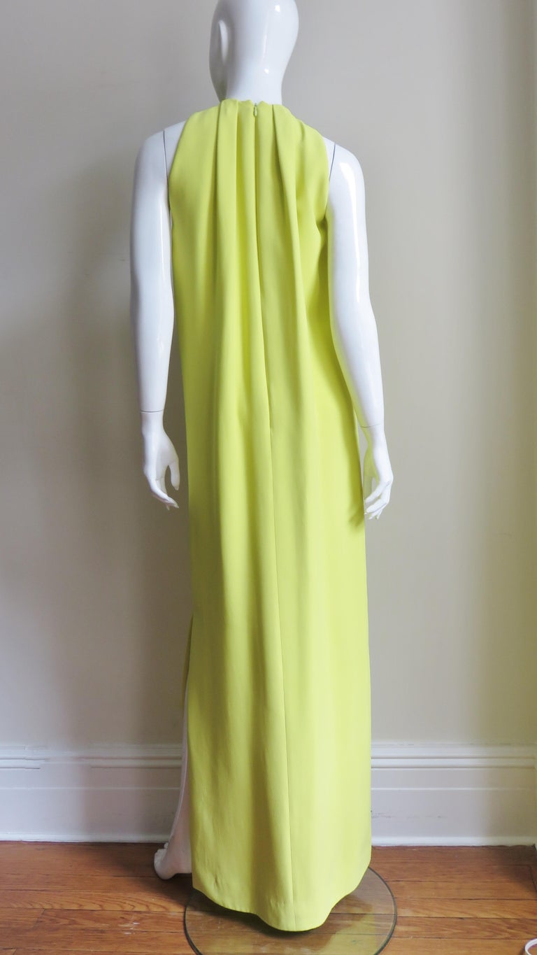 Christian Dior New Citron Silk Gown For Sale 7