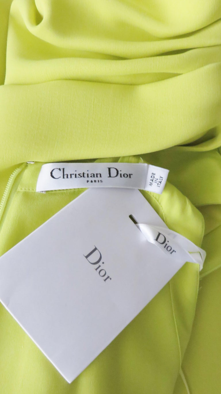 Christian Dior New Citron Silk Gown For Sale 8