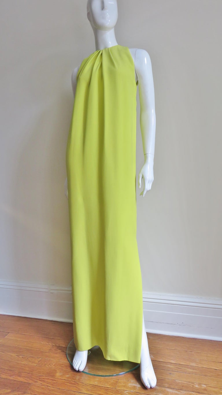 Christian Dior New Citron Silk Gown For Sale 3