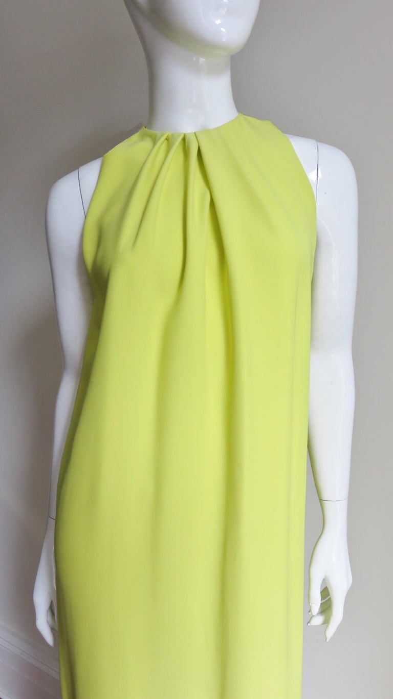Green Christian Dior New Citron Silk Gown For Sale
