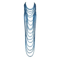2000's Christian Dior John Galliano Blue Glass Beads Extra Long Layered Necklace