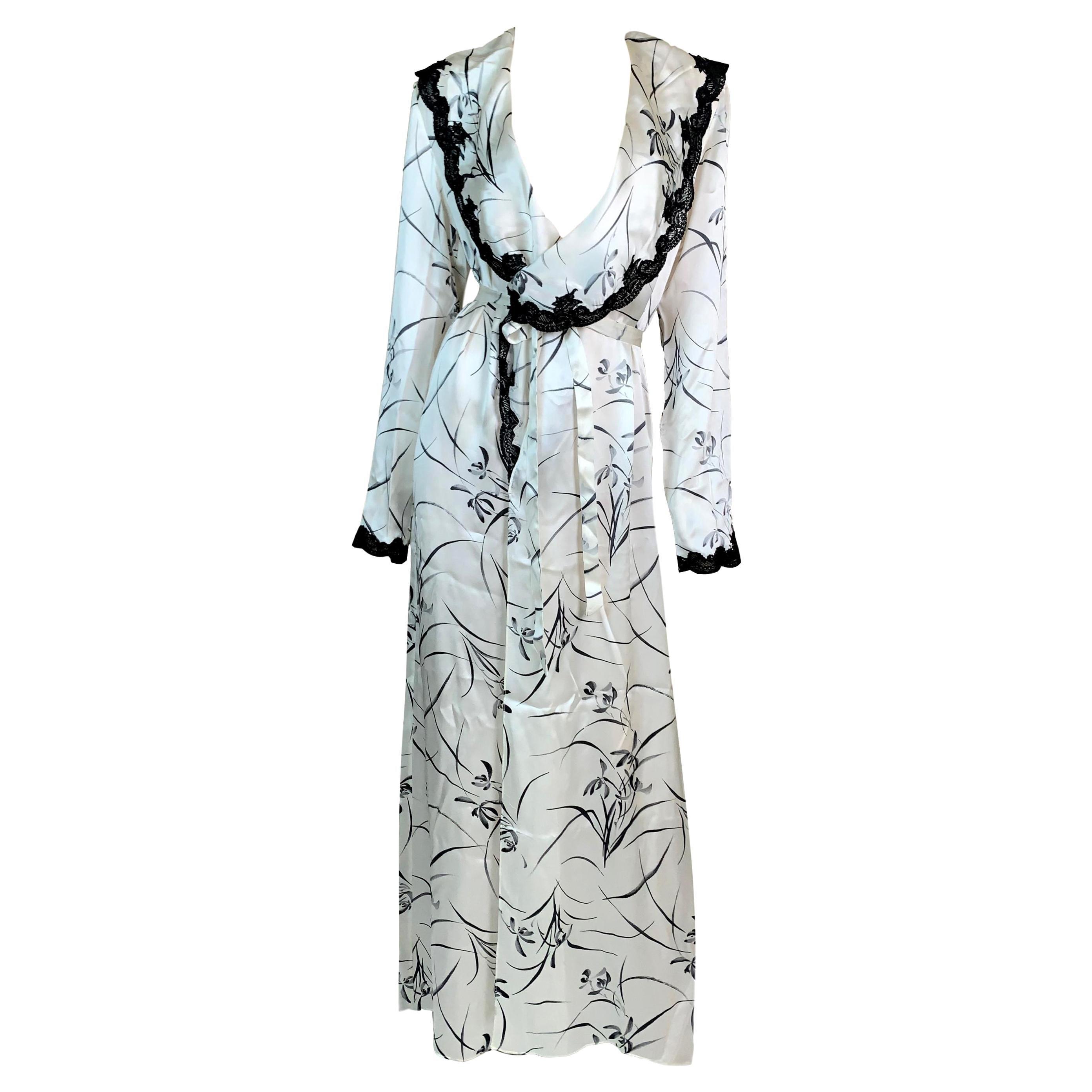 2000's Christian Dior John Galliano Old Hollywood Silk Black & White Dress Robe