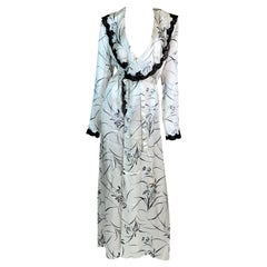 2002 Christian Dior John Galliano Old Hollywood Silk Black & White Dress Robe