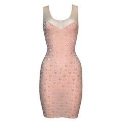 2000's Christian Dior John Galliano Sheer Logo Monogram Peachy Pink Mini Dress