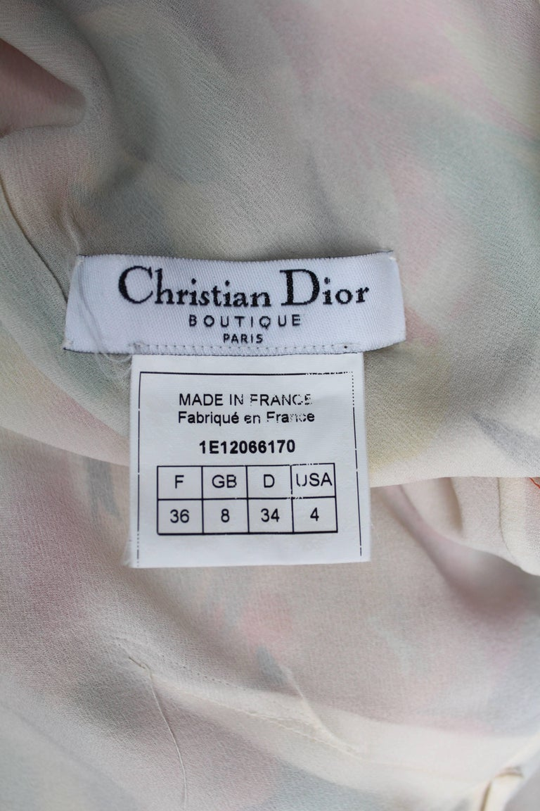 2000s Christian Dior long silk cocktail dress with floral pattern print For Sale 4