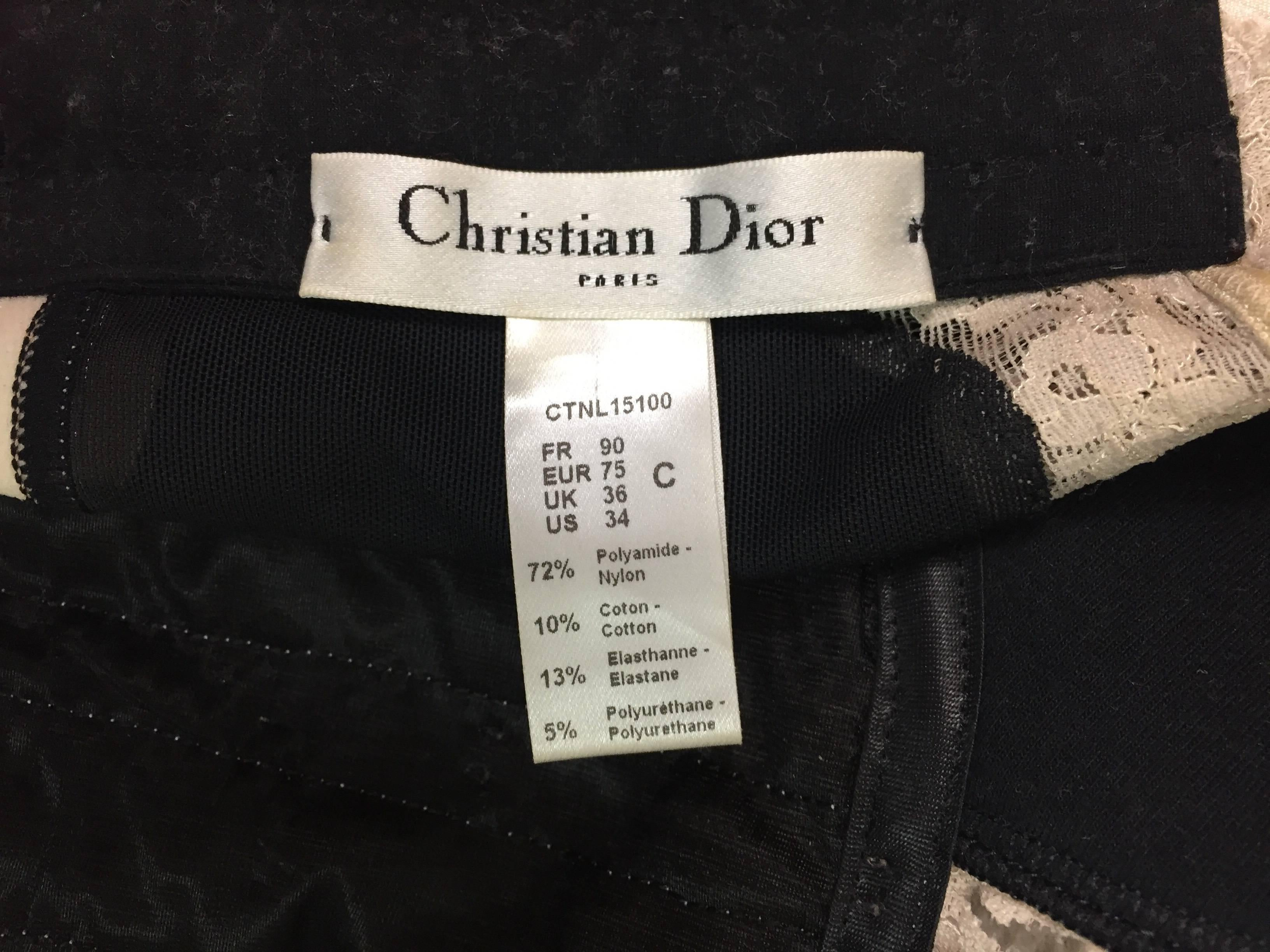 a55530dfbd2899 Christian Dior Sheer Black Mesh Padded Lace Crop Top Bra