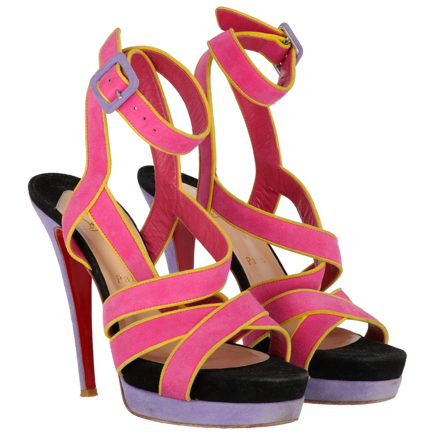 2000s Christian Louboutin Color Block Sandals