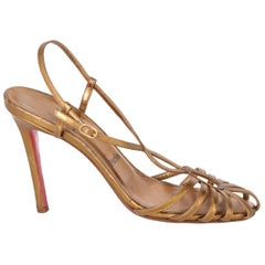 2000s Christian Louboutin Leather Heels Golden Sandals