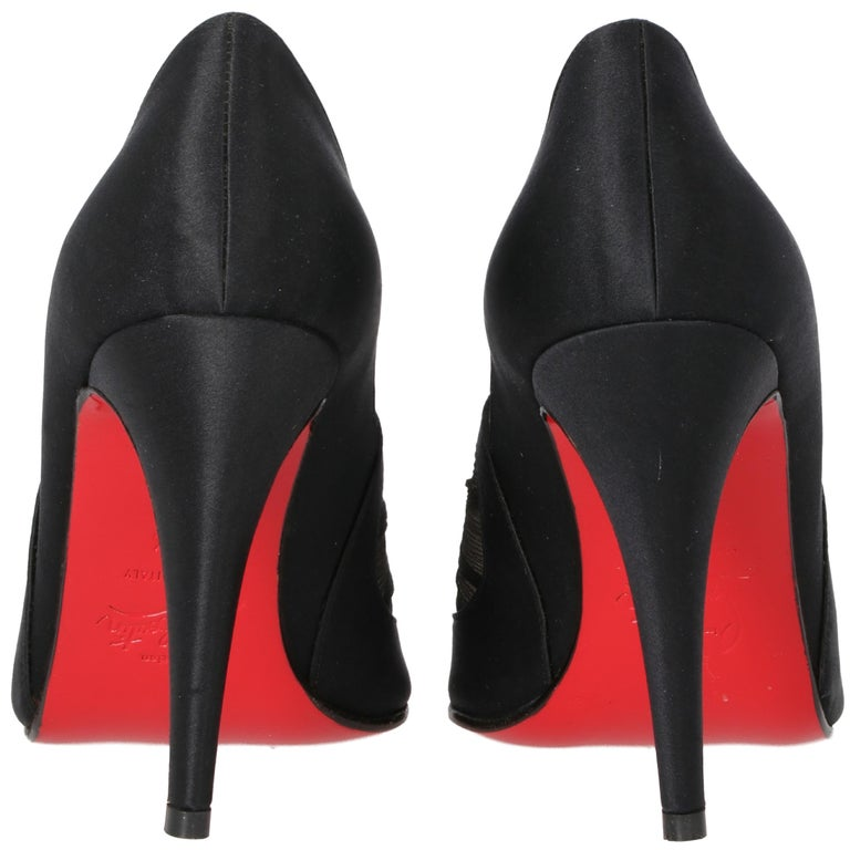 Black 2000s Christian Louboutin Silk And Satin Heels