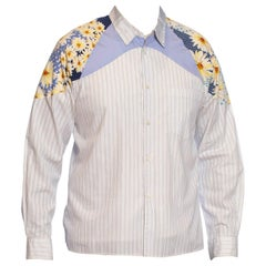 2000S COMME DES GARCONS Cotton Men's Floral & Stripe Patchwork Shirt