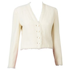 2000s Croisiere Chanel Ivory Lurex Tweed Boucle Jacket