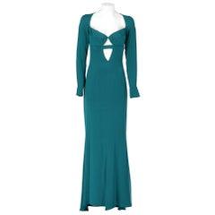 2000s Cushnie et Ochs Petrol Long Dress