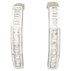 2000s Diamond and White Gold Hoop Earrings