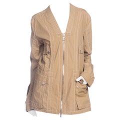 2000S DIRK BIKKEMBERGS Khaki Cotton Blend Utility Pocket Jacket With Contrast T