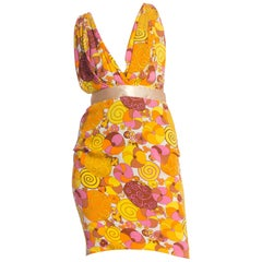 1990S Dolce And Gabbana Colorful Printed Backless Dress