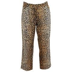 2000s Dolce & Gabbana Brown Black Cotton Leopard Print Spotted Capri Pants