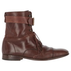 2000s Dolce & Gabbana Brown Leather Lace-up Boots