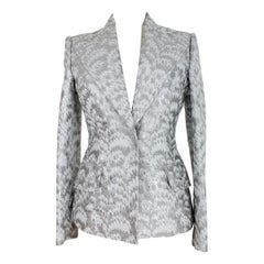 2000s Dolce & Gabbana Gray Silver Damask Silk Cotton Jacket