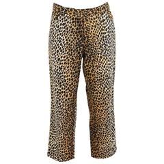 2000s Dolce & Gabbana Leopard Print Spotted Brown Cotton Black Pants Capri