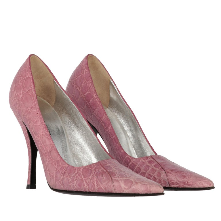 2000s Dolce & Gabbana Pink Leather Pumps In Good Condition For Sale In Lugo (RA), IT