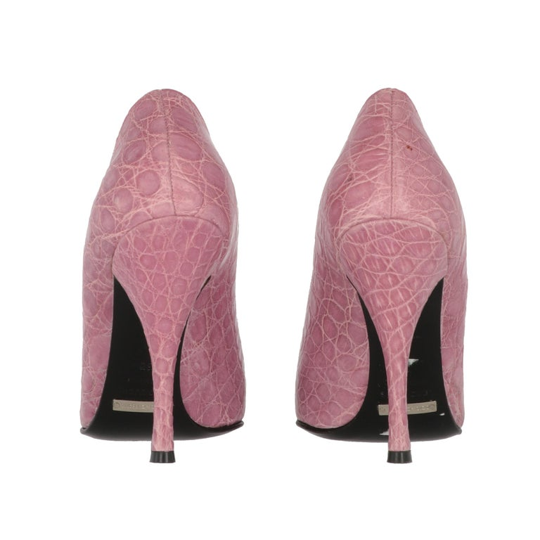 Women's 2000s Dolce & Gabbana Pink Leather Pumps For Sale