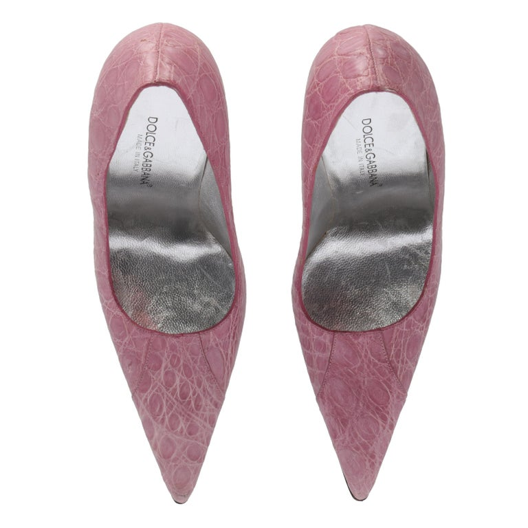 2000s Dolce & Gabbana Pink Leather Pumps For Sale 1