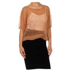 2000S DRIES VAN NOTEN Beige Poly/Cotton Abstracted Lace Knit Top
