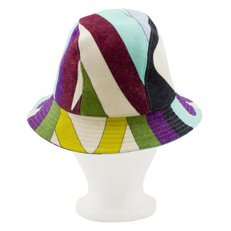 Green 2000's  Emilio Pucci Multicoloured Wool Bucket Hat  For Sale