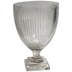 2000s Etched Clear Crystal Fluted Vase
