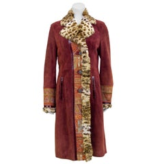 2000's Etro Burgundy Suede & Paisley Coat With Stencilled Fur
