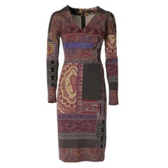 2000s Etro paisley printed mixed wool fabric knee-lenght dress