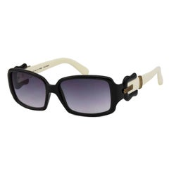 2000s Fendi Black & Cream Sunglasses with Buckle Detail