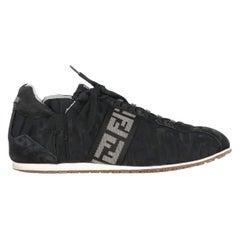 2000s Fendi Black Monogram Lace-Up Shoes