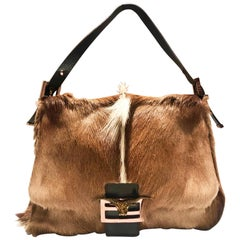 2000s Fendi Buffalo Head Fur Mama Baguette Shoulder Bag