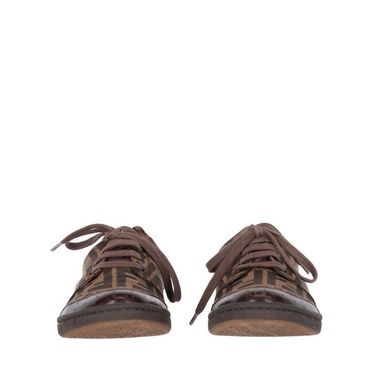 Black 2000s Fendi Monogram Lace-up Shoes For Sale