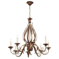 2000s Florentine Style 8-Arm Chandelier with Articulated and Wrought Iron Leaves