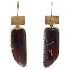 2000s Gail Bird & Yazzie Johnson Boulder Opal and Gold Earrings